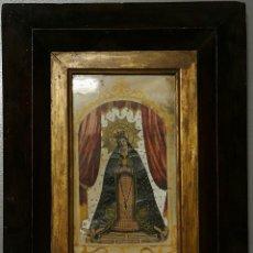 Arte: NUMULITE VIRGEN SAGRADO CORAZÓN CON ROSARIO PINTADO PARTE RECORTADAS POR CAPAS ÁNGELES A LOS PIES. Lote 142764434