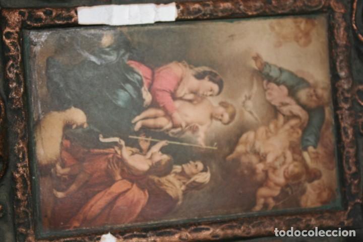 Arte: antigua pintura retablo cuadro de la virgen - Foto 10 - 142911150