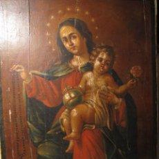Arte: ESCUELA VALENCIANA, TABLA DE LA VIRGEN DEL ROSARIO S XVIII.. Lote 142965798