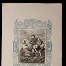 Arte: PESCA MILAGROSA · CAPUZ · GRABADO A DOS TINTAS · AÑO CRISTIANO · 1853. Lote 143067226