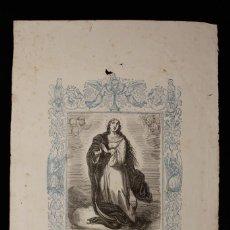 Arte: LA PURÍSIMA CONCEPCIÓN DE NUESTRA SEÑORA • CAPUZ • GRABADO A DOS TINTAS • AÑO CRISTIANO • 1853. Lote 143067458