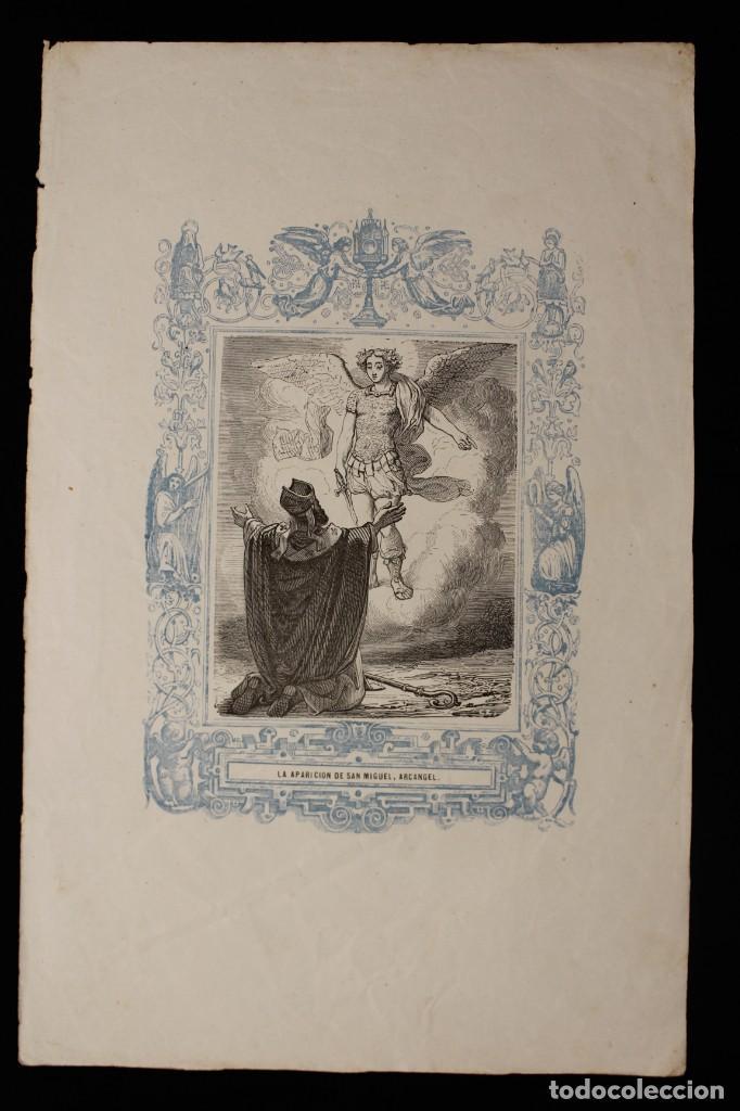 LA APARICIÓN DE SAN MIGUEL ARCÁNGEL • GRABADO A DOS TINTAS • AÑO CRISTIANO • 1853 (Arte - Arte Religioso - Grabados)