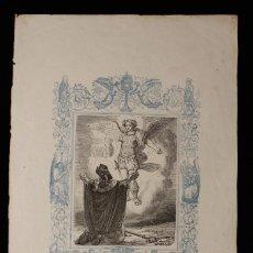 Arte: LA APARICIÓN DE SAN MIGUEL ARCÁNGEL • GRABADO A DOS TINTAS • AÑO CRISTIANO • 1853. Lote 143067678