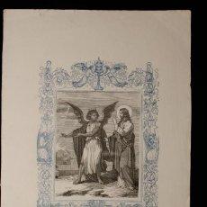 Arte: EL DEMONIO TIENTA A JESÚS EN EL DESIERTO · GRABADO A DOS TINTAS · AÑO CRISTIANO · 1853. Lote 143067822