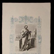 Arte: SAN MATEO APÓSTOL Y EVANGELISTA • GRABADO A DOS TINTAS • AÑO CRISTIANO • 1853. Lote 143067974