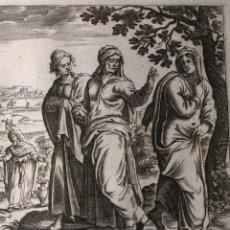 Arte: LIBRO DE RUTH. RUTH VA AL CAMPO DE LAS ESPIGAS DE BOOS.GRABADO H. 1600.. Lote 143095090