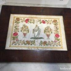 Arte: (M) ANTIGUA VIRGEN DEL ROSARIO BORDADO HILO SOBRE PAPEL . CON SU MARCO ORIGINAL DE CAOBA S. XIX BUEN. Lote 143195530