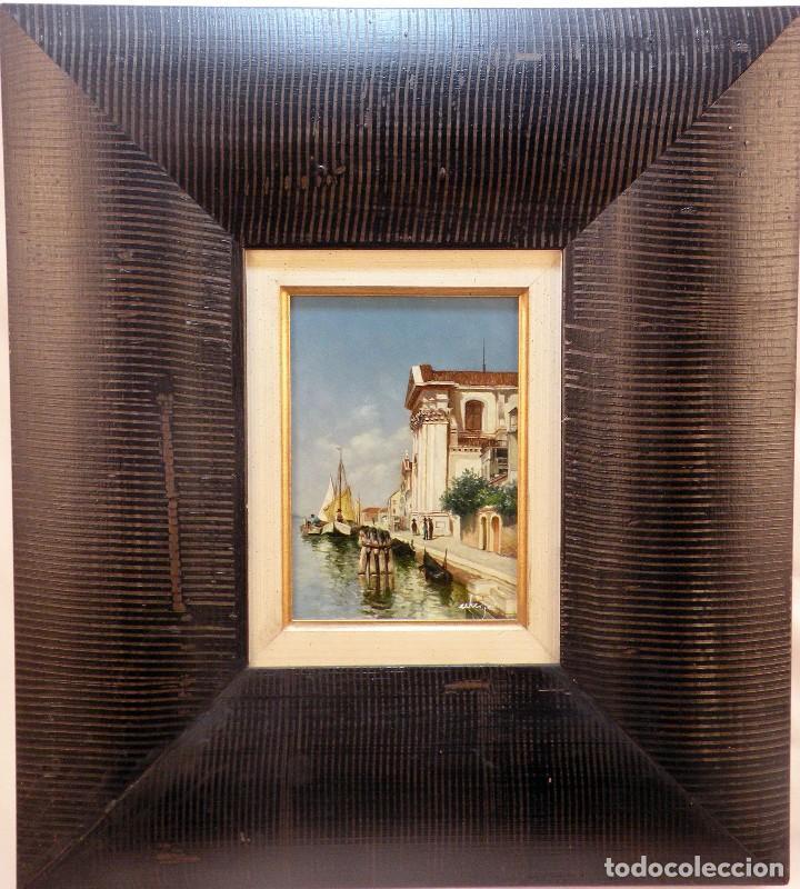 CUADRO DE TABLA PINTADA AL OLEO MOTIVO PAISAJE VENECIANO (Arte - Arte Religioso - Pintura Religiosa - Oleo)
