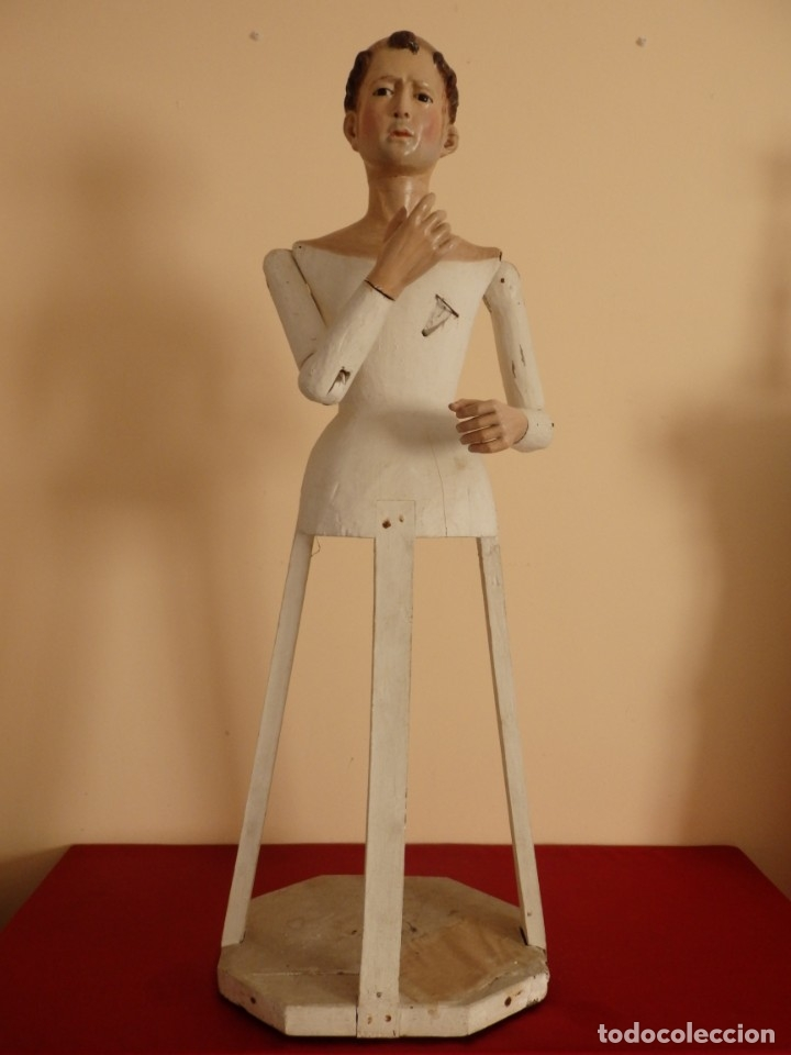 Arte: San Pedro Mártir. Imagen vestidera o cap i pota en madera tallada. 98 cm. Siglo XVIII. - Foto 5 - 143340742