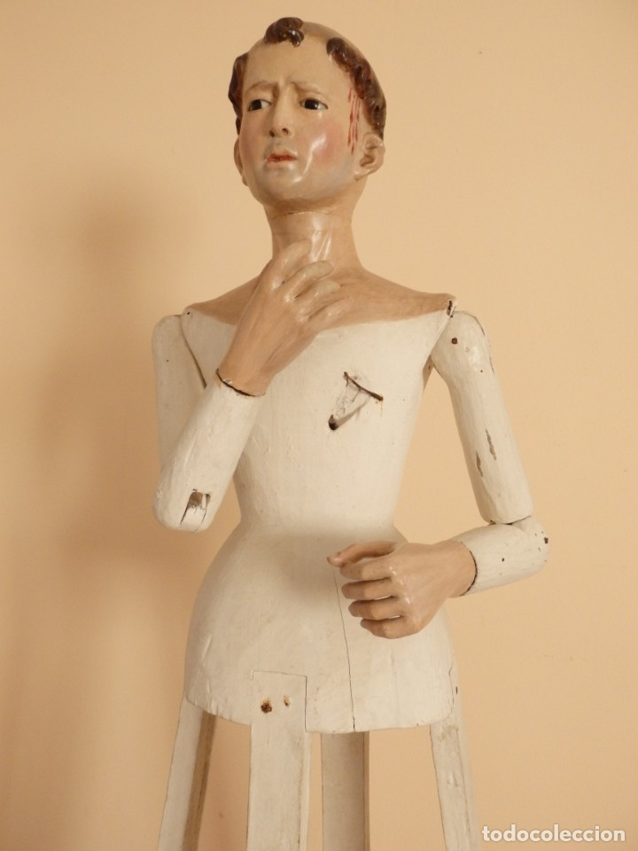 Arte: San Pedro Mártir. Imagen vestidera o cap i pota en madera tallada. 98 cm. Siglo XVIII. - Foto 6 - 143340742