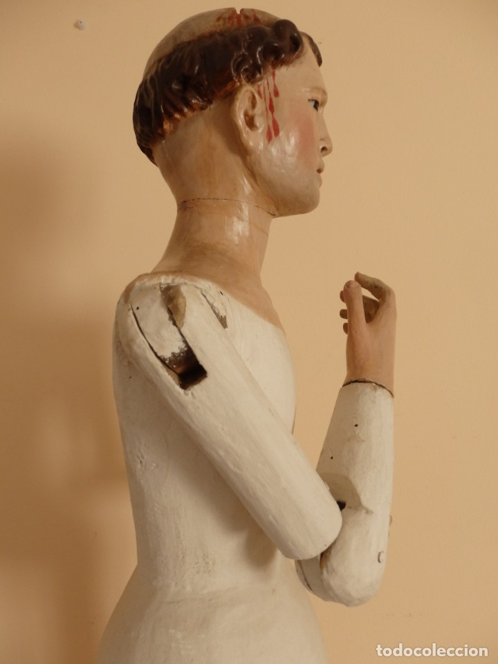 Arte: San Pedro Mártir. Imagen vestidera o cap i pota en madera tallada. 98 cm. Siglo XVIII. - Foto 7 - 143340742