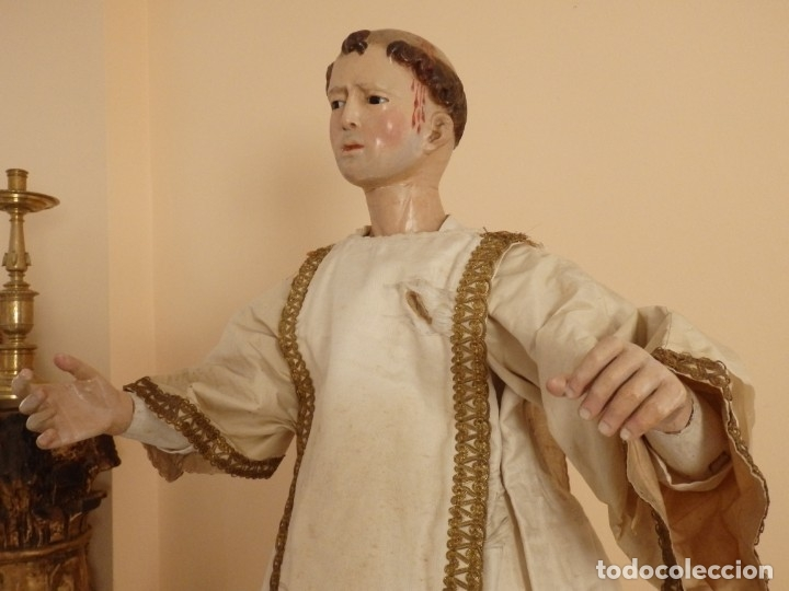 Arte: San Pedro Mártir. Imagen vestidera o cap i pota en madera tallada. 98 cm. Siglo XVIII. - Foto 15 - 143340742