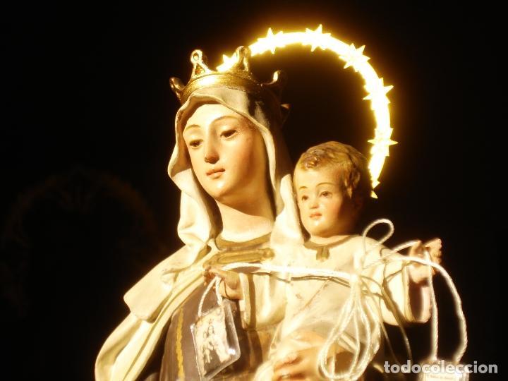 ANTIGUA VIRGEN DEL CARMEN CON NIÑO SELLADA EL ARTE CRISTIANO (Arte - Arte Religioso - Escultura)