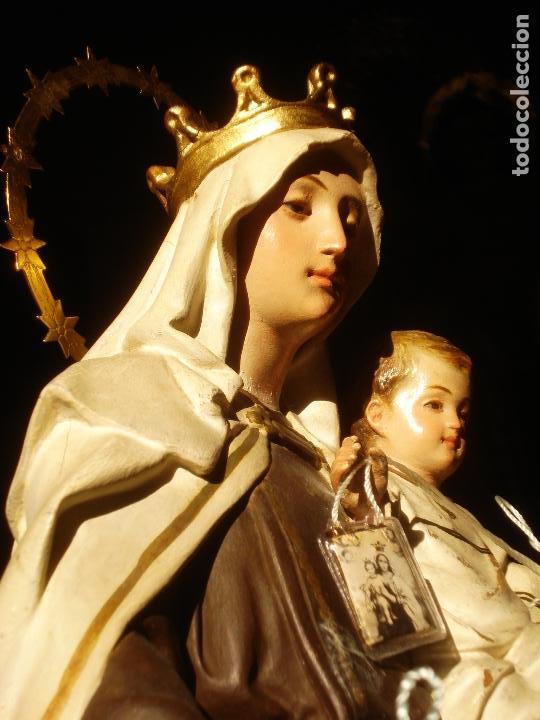 Arte: ANTIGUA VIRGEN DEL CARMEN CON NIÑO SELLADA EL ARTE CRISTIANO - Foto 2 - 189309658