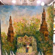 Arte - PINTURA SOBRE TABLA VIRGEN DE LA PAZ - SEMANA SANTA DE SEVILLA - MEDIDA 30X24 CM - 143367254