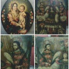 Arte: OLEO SOBRE LIENZO VIRGEN CON NIÑO JESUS ARCANGEL SAN MIGUEL SANTOS ALEGORÍA DOS PIEZAS UNICAS . Lote 143551722