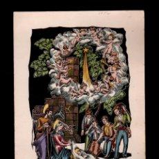 Arte: C2-2-11 J. CASAS SARGATAL GRABADO EN COLOR DE CORONA DE ANGELES SOBRE LOS PASTORES , FRENTE AL NA. Lote 143578914