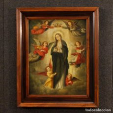Arte: ANTIGUA PINTURA RELIGIOSA VIRGEN CON ÁNGELES DEL SIGLO XVIII. Lote 143610578