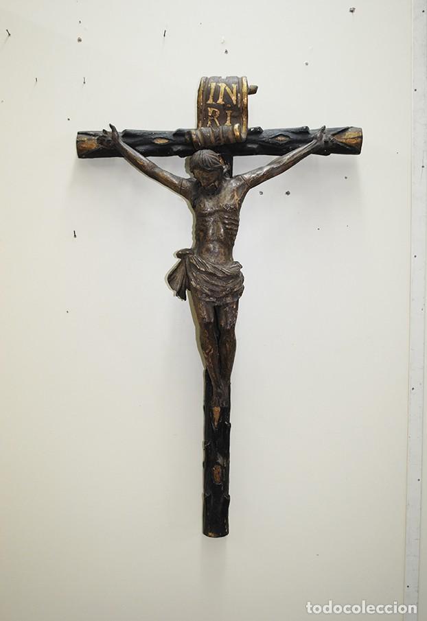 TALLA DE MADERA CRUCIFIJO SIGLO XVIII (Arte - Arte Religioso - Escultura)