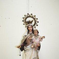 Arte: ANTIGUA FIGURA RELIGIOSA VIRGEN DEL CARMEN Y NIÑO - OLOT. Lote 143731582