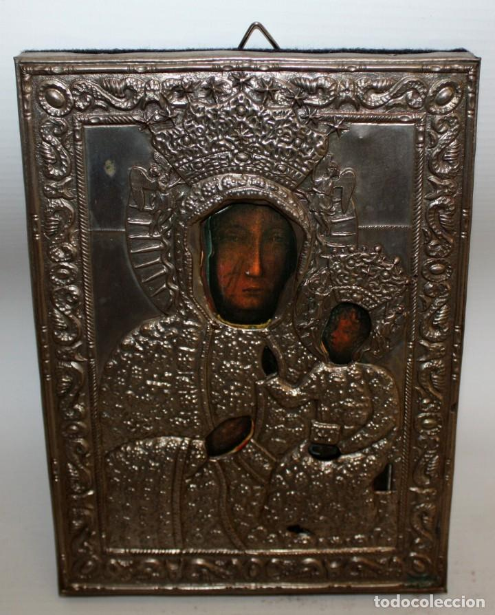 BONITO ICONO DE METAL PLATEADO -VIRGEN Y NIÑO. (Arte - Arte Religioso - Iconos)