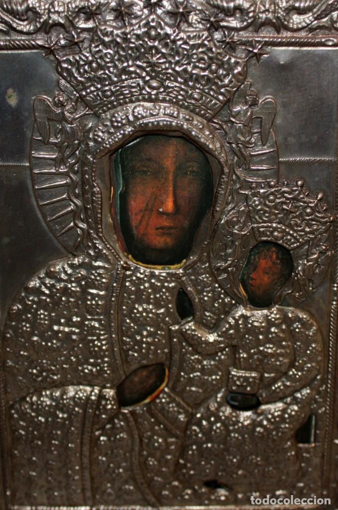 Arte: BONITO ICONO DE METAL PLATEADO -VIRGEN Y NIÑO. - Foto 3 - 143739234