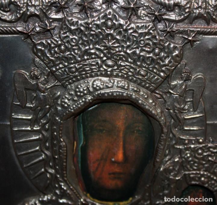 Arte: BONITO ICONO DE METAL PLATEADO -VIRGEN Y NIÑO. - Foto 6 - 143739234