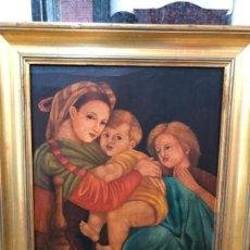 Arte: OLEO SOBRE TABLA MOTIVO RELIGIOSO - MEDIDA MARCO 57X52 CM - VIRGEN - NIÑO JESUS. Lote 143749298