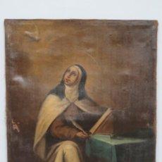 Arte: BONITA SANTA TERESA RECIBIENDO LA INSPIRACION DEL ESPIRITU SANTO. OLEO S/ LIENZO. SIGLO XVIII. Lote 143774410