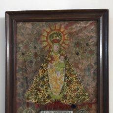 Arte: ANTIGUO CUADRO POPULAR - TRABAJO DE MONJAS - NUESTRA SEÑORA DE VALDEGIMENA- SALAMANCA. Lote 143849301