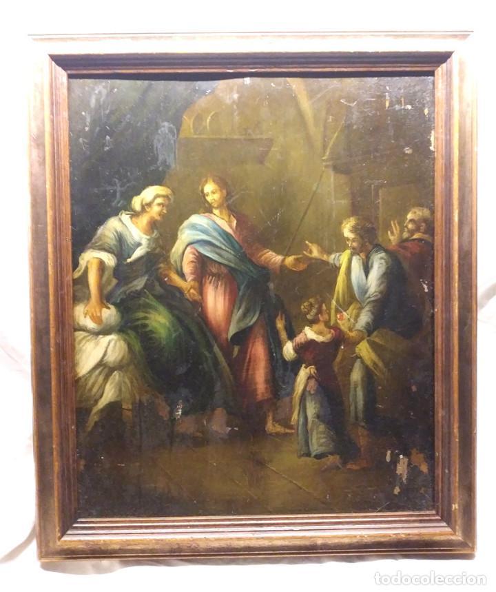 ESCENA RELIGIOSA ÓLEO SOBRE COBRE S XIX. MED. 45 X 54 CM (Arte - Arte Religioso - Pintura Religiosa - Oleo)