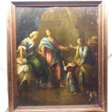 Arte: ESCENA RELIGIOSA ÓLEO SOBRE COBRE S XIX. MED. 45 X 54 CM. Lote 143879554