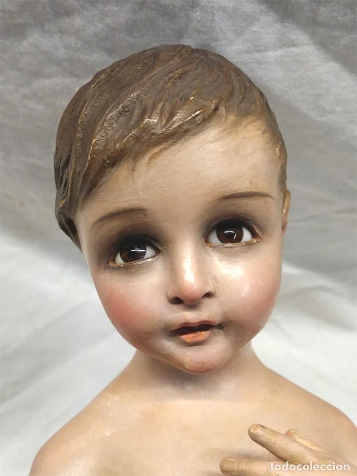 Arte: Niño Jesus S XIX, talla Madera policromada, ojos cristal, buen estado. Med. 50 cm - Foto 2 - 143882254
