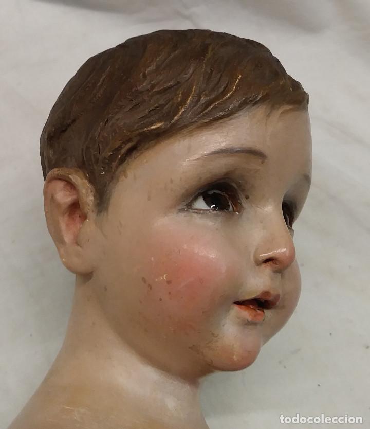 Arte: Niño Jesus S XIX, talla Madera policromada, ojos cristal, buen estado. Med. 50 cm - Foto 3 - 143882254