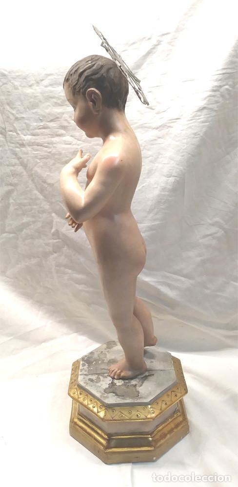 Arte: Niño Jesus S XIX, talla Madera policromada, ojos cristal, buen estado. Med. 50 cm - Foto 9 - 143882254