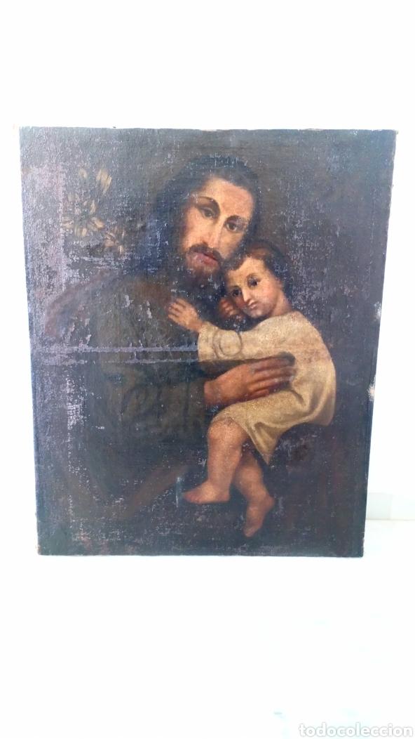 ÓLEO SAN JOSÉ Y NIÑO JESÚS 74X60 BASTANTE ANTIGUO (Arte - Arte Religioso - Pintura Religiosa - Oleo)