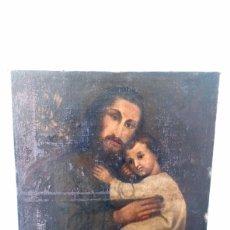 Arte: ÓLEO SAN JOSÉ Y NIÑO JESÚS 74X60 BASTANTE ANTIGUO. Lote 143911085