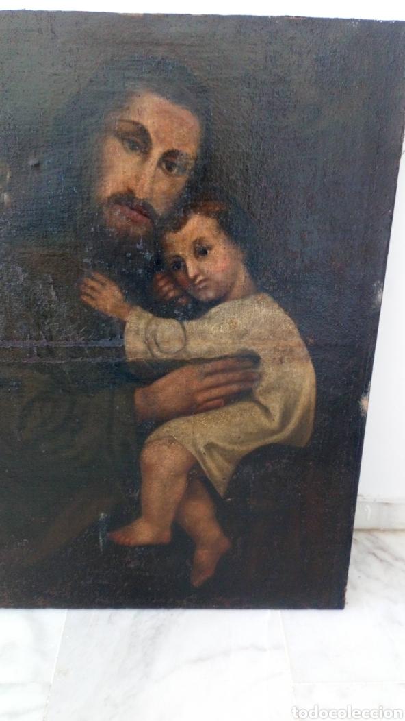 Arte: Óleo San José y niño Jesús 74x60 bastante antiguo - Foto 2 - 143911085