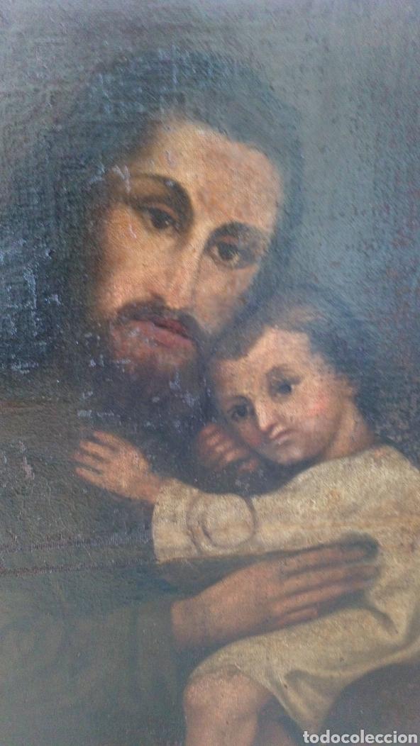 Arte: Óleo San José y niño Jesús 74x60 bastante antiguo - Foto 3 - 143911085
