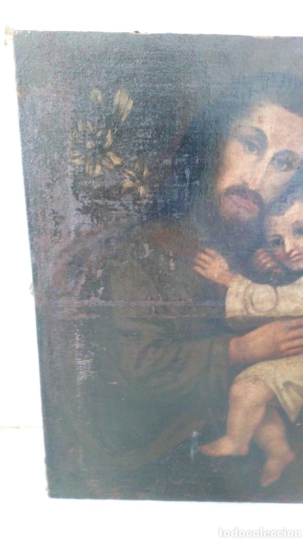 Arte: Óleo San José y niño Jesús 74x60 bastante antiguo - Foto 4 - 143911085