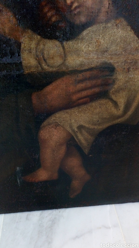 Arte: Óleo San José y niño Jesús 74x60 bastante antiguo - Foto 6 - 143911085