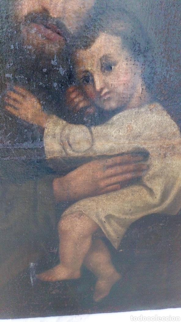 Arte: Óleo San José y niño Jesús 74x60 bastante antiguo - Foto 7 - 143911085