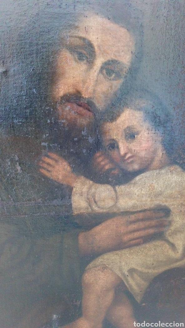 Arte: Óleo San José y niño Jesús 74x60 bastante antiguo - Foto 8 - 143911085