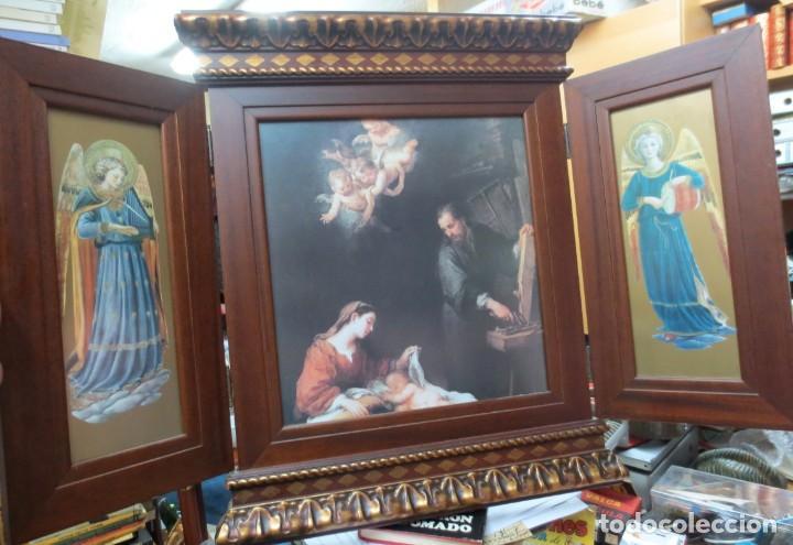 PRECIOSO TRIPTICO CON MOTIVOS RELIGIOSOS EN MADERA 52X44 CM (Arte - Arte Religioso - Trípticos)