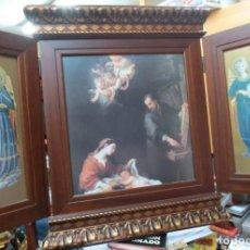 Arte: PRECIOSO TRIPTICO CON MOTIVOS RELIGIOSOS EN MADERA 52X44 CM. Lote 144089122