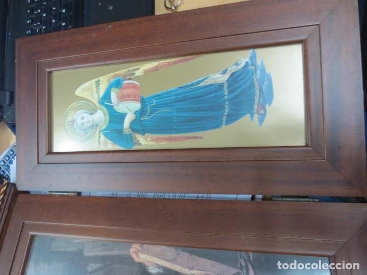 Arte: PRECIOSO TRIPTICO CON MOTIVOS RELIGIOSOS EN MADERA 52X44 CM - Foto 2 - 144089122