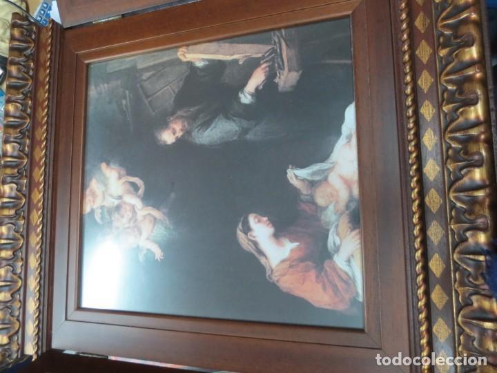 Arte: PRECIOSO TRIPTICO CON MOTIVOS RELIGIOSOS EN MADERA 52X44 CM - Foto 3 - 144089122