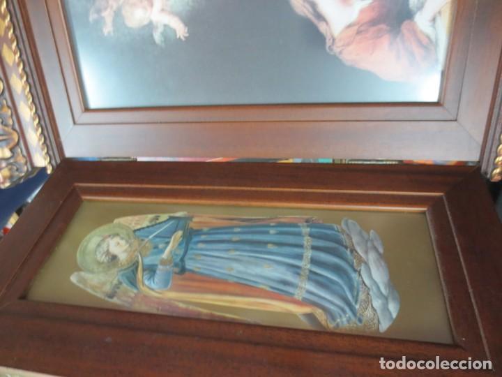 Arte: PRECIOSO TRIPTICO CON MOTIVOS RELIGIOSOS EN MADERA 52X44 CM - Foto 4 - 144089122