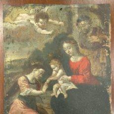Arte: COBRE POLICROMADO DE GRAN CALIDAD. VISITACIÓN DE SANTA CATALINA DE ALEJANDRIA. S.XVII. Lote 144140670