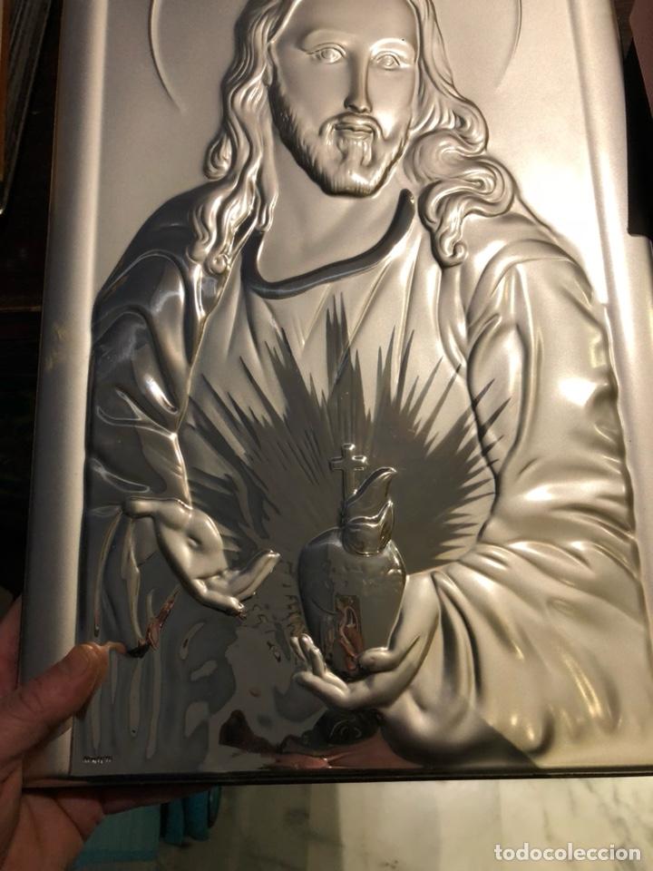 Arte: Bonito cuadro con un sagrado corazón en plata de ley - Foto 3 - 144149522